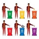 Мусорный ящик, ненужный ящик, контейнер погани, мусорный контейнер infographic Держите чистый или не засаривайте, концепция шарж иллюстрация вектора