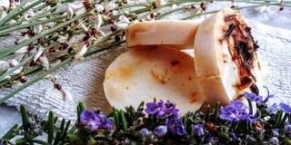 Мыло диких цветков calandula естественное стоковые изображения