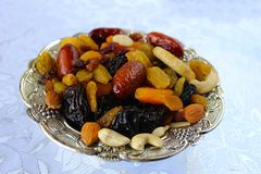 Ðœix dried fruits and nuts of Israel. Dried fruits - symbol of the Jewish holiday Tu Bishvat royalty free stock images