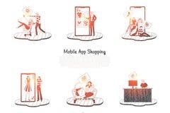 Мобильное приложение ходя по магазинам - люди приказывая и делая приобретение через мобильный ходя по магазинам набор концепции в бесплатная иллюстрация