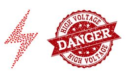 Мозаика сердца Валентайн электрических значка забастовки и печати Grunge иллюстрация вектора
