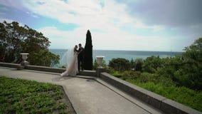 Молодая красивая невеста в платье свадьбы и выхолить обнимать и целовать акции видеоматериалы