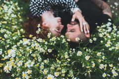 Молодая пара лежит на поле с маргаритками стоковые изображения rf