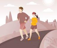 Молодые пары бежать вокруг в парке бесплатная иллюстрация
