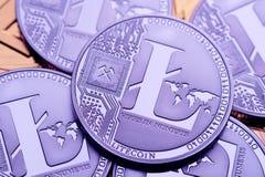 Монетки Litecoin, конец-вверх стоковое изображение