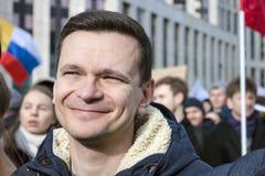 Москва, Россия, - 10-ое марта 2019 Свобода интернета требования ралли в России стоковое фото