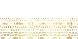Мотивы безшовного сусального золота границы этнические и племенные Ходы doodle руки вычерченные золотые, линии, треугольники повт иллюстрация вектора