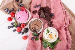 Набора мороженого ванили плода шоколада положение розового плоское стоковая фотография
