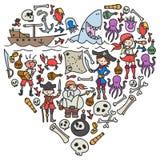 Набор вектора значков чертежей детей пиратов в стиле doodle Покрашенный, красочный, изображения на куске бумаги дальше бесплатная иллюстрация
