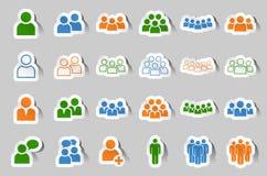 Набор значка стикера команды людей человека иллюстрация вектора