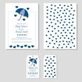 Набор ливня ребенка - приглашение и благодарит вас фронт и задняя часть бирки Голубой зонтик с сердцами бросая тени иллюстрация вектора