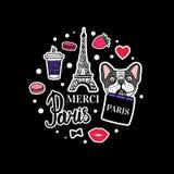 Набор французского бульдога Эйфелева башня и милые стороны собаки Стикер руки вектора вычерченный иллюстрация вектора