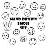 Набор руки вычерченный смайликов, значков emoji smiley иллюстрация штока