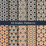 Set of ten seamless vector arabic geometric traditonal patterns. design for print, interior, textile, packaging. Set of ten seamless vector arabic colorful stock illustration