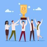 Награда работы мультфильма Группа людей характера бизнесмена вознаграждением работы работника офиса профессиональная призовая Наг иллюстрация штока