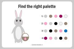 Найдите правая палитра к изображению, зайчик в стиле мультфильма, игре бумаги образования пасхи для развития детей, детей иллюстрация вектора