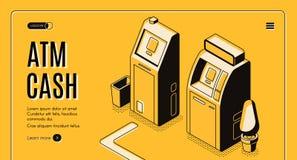 Наличные деньги ATM разделяют вебсайт вектора обслуживания равновеликий иллюстрация вектора