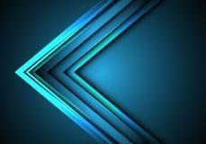 Направление скорости стрелки конспекта голубое неоновое на векторе предпосылки технологии дизайна пустого пространства современно иллюстрация штока