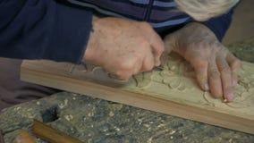 Надземный лоток от набора зубил к деревянному граверу сток-видео