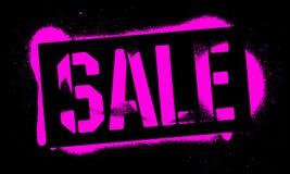 Надпись ПРОДАЖИ восковки Розовая печать граффити на черной предпосылке Искусство улицы дизайна вектора иллюстрация вектора