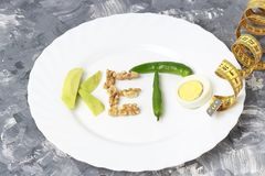 Надпись Keto сделала из гаек, яя и авокадоа Ketogenic концепция диеты стоковые изображения rf
