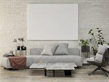 Насмешливый поднимающий вверх плакат, комната прожития с белой предпосылкой кирпича, украшением цветка стоковые фотографии rf