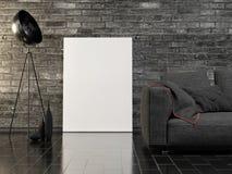Насмешливый поднимающий вверх плакат, темная внутренняя концепция, предпосылка кирпичной стены, стоковые фото