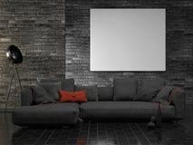 Насмешливый поднимающий вверх плакат, темная внутренняя концепция, предпосылка кирпичной стены, стоковое изображение rf