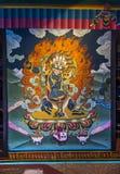 Настенная живопись Chana Dorje Trashi Chhoe Dzong, Тхимпху, Бутана стоковое фото rf