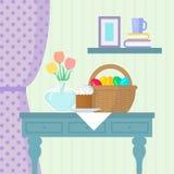 Натюрморт пасхи с тортом, корзина с яйцами и ваза на таблице бесплатная иллюстрация