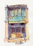 Нарисованная рука акварели сцены города городка наследия стоковое изображение