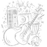 Нарисованная рукой предпосылка музыки Аппаратуры Doodle музыкальные лента музыкальных старых рекордеров изображений оборудования  иллюстрация штока