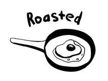 Нарисованный вручную горячий зажаренный в духовке завтрак яйца на лотке с литерностью бесплатная иллюстрация