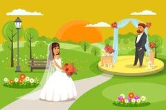 На открытом воздухе свадебная церемония, иллюстрация партии плоская иллюстрация вектора
