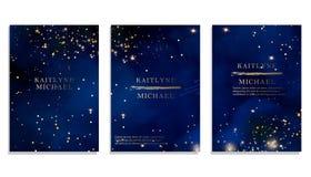 Небо волшебной ночи синее с сверкнать играет главные роли приглашение свадьбы вектора Галактика Андромеды Предпосылка выплеска по иллюстрация вектора