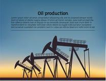 Нефтедобывающее silouette снаряжения Черная пиктограмма на предпосылке цвета Иллюстрация вектора с текстом бесплатная иллюстрация