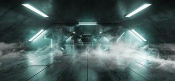 Неона космического корабля чужеземца треугольника сини льда дыма Grunge тоннеля коридора Hall футуристического накаляя отражатель иллюстрация вектора