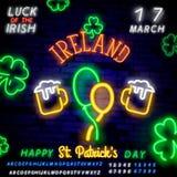 Неоновые значки воздушных шаров для дня и дневного зеленого алфавита St. Patrick на кирпичной стене также вектор иллюстрации прит бесплатная иллюстрация