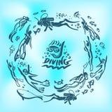 Ныряя клеймя идентичность корпоративный шаблон дизайна логотипа вектора изолированный на голубой предпосылке иллюстрация штока