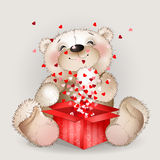Нappy bear got in a gift box with lots of hearts 3 Royalty Free Stock Photo