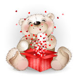 Нappy bear got in a gift box with lots of hearts 2 Royalty Free Stock Photo