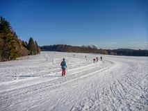 Нордические катаясь на лыжах следы на снежных равнинах с хвойными деревьями около na Morave Nove Mesto стоковое фото rf