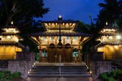 Пагода Брисбен ночи стоковые фотографии rf