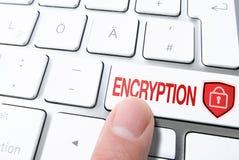 Палец отжимая ключ на клавиатуре компьютера обозначил ШИФРОВАНИЕ с padlock на экране стоковые изображения rf
