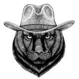 Пантера, пума, кугуар, дикий кот, леопард, ковбойская шляпа ягуара нося Животное Дикого Запада Изображение руки вычерченное для т иллюстрация штока