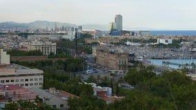 Панорама городского пейзажа Барселоны, гаван Vell и Passeig de Colom видеоматериал