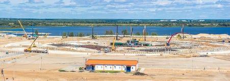 Панорама строительной площадки огромного стадиона стоковое изображение