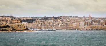 Панорамный вид на горизонте Senglea, Vittoriosa и Марины стоковые фотографии rf