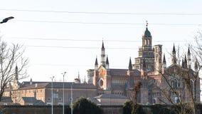 панорамный вид di Павии Certosa весной стоковые изображения rf