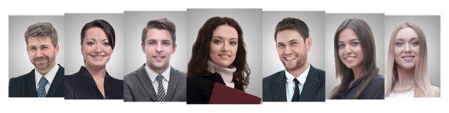 Панорамный коллаж портретов молодых предпринимателей стоковые изображения rf